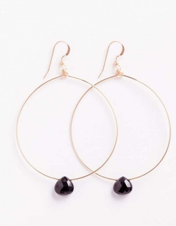 Black Spinel Large Hoops
