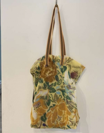 Mesh shopper yellow floral