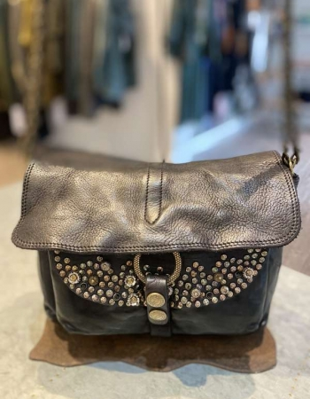 CO2291 Black Studded Shoulder Bag