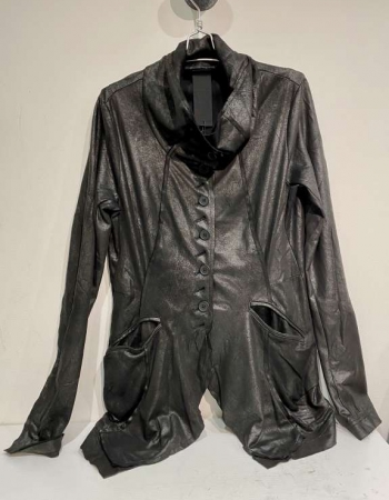Black Pleather Fitted Jacket