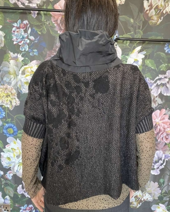 Black Knit Cowl Neck
