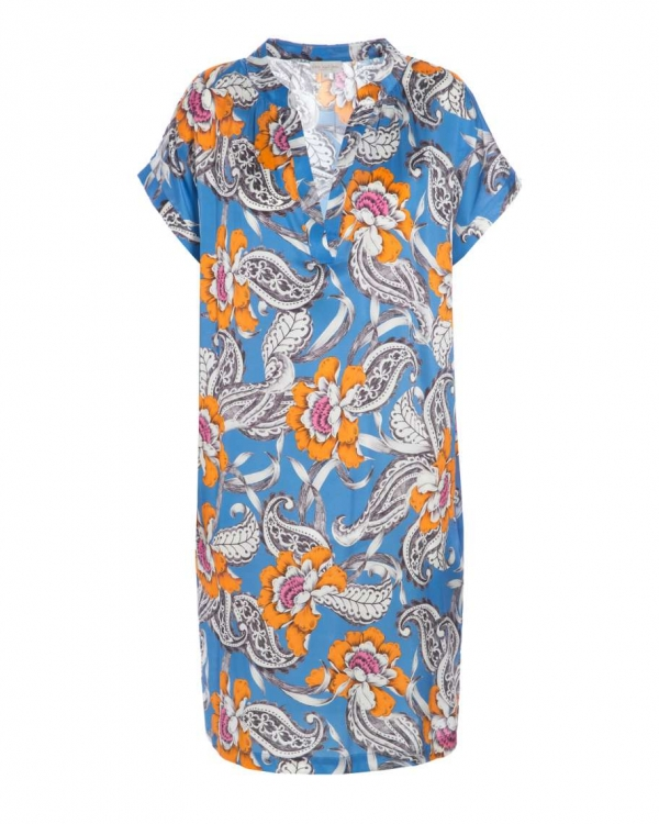 Yoke Dress Flowerstroke Blue