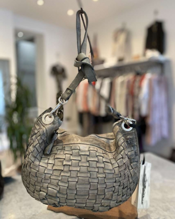 Woven grey leather crescent leather bag
